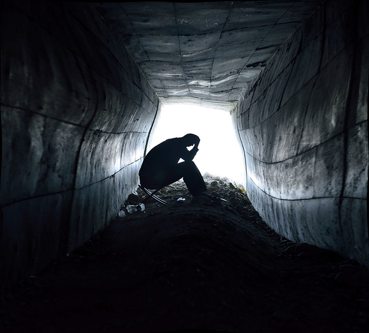 Sometimes it seems your thoughts are creating a hole too deep to ever climb out of...